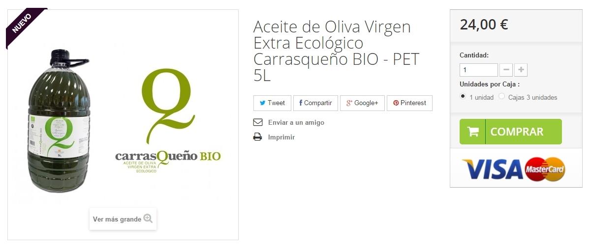 Compra Aceite de Oliva Virgen Extra Ecológico – Carrasqueño BIO