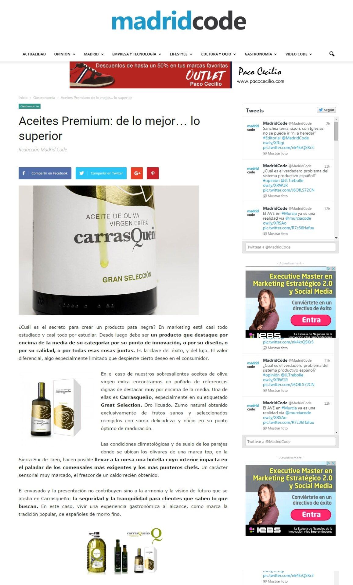 Artículo en Madridcode.com: Aceites Premium: de lo mejor… lo superior