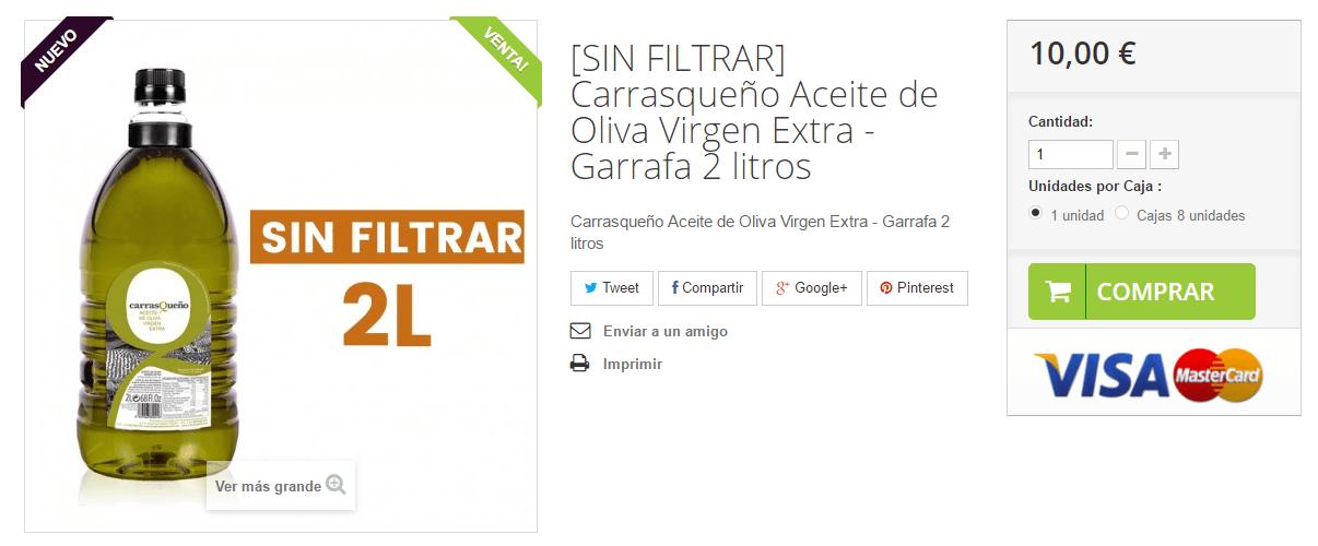 [Nuevo] Aceite de Oliva Virgen Extra Carrasqueño Sin Filtrar disponible en 2 litros.