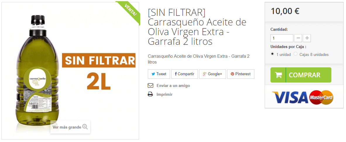 Compra AOVE Carrasqueño 2L Sin filtrar en http://carrasqueño.es/tienda #AOVE