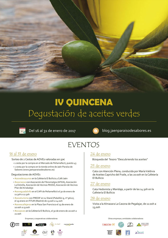 Colaboramos con #degustacionaceitesverdes. Aquí tenéis el calendario.