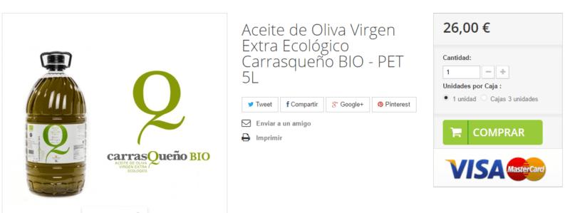AOVE Carrasqueño Ecológico 5L disponible para la venta.