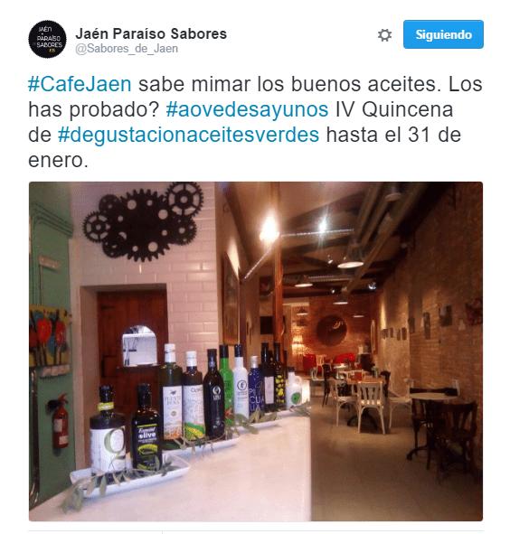 IV Quincena de #degustacionaceitesverdes hasta el 31 de enero. En #CafeJaen @Sabores_de_Jaen