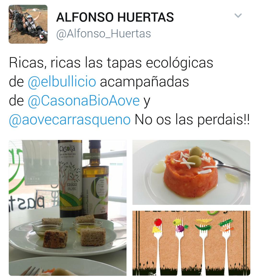 Tapas ecológicas en @elbullicio con AOVE Carrasqueño BIO